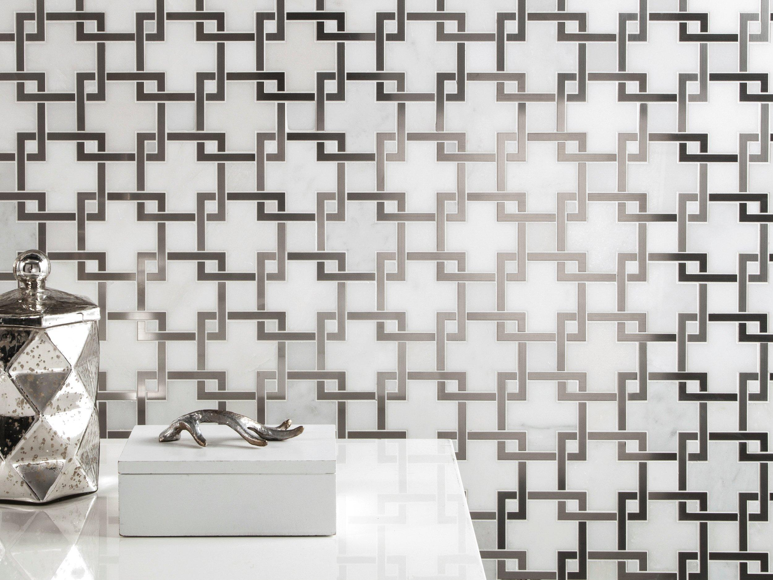 Vector Royal White Stainless Steel Marble Mosaic 12 X 12 100484351 Floor And Decor