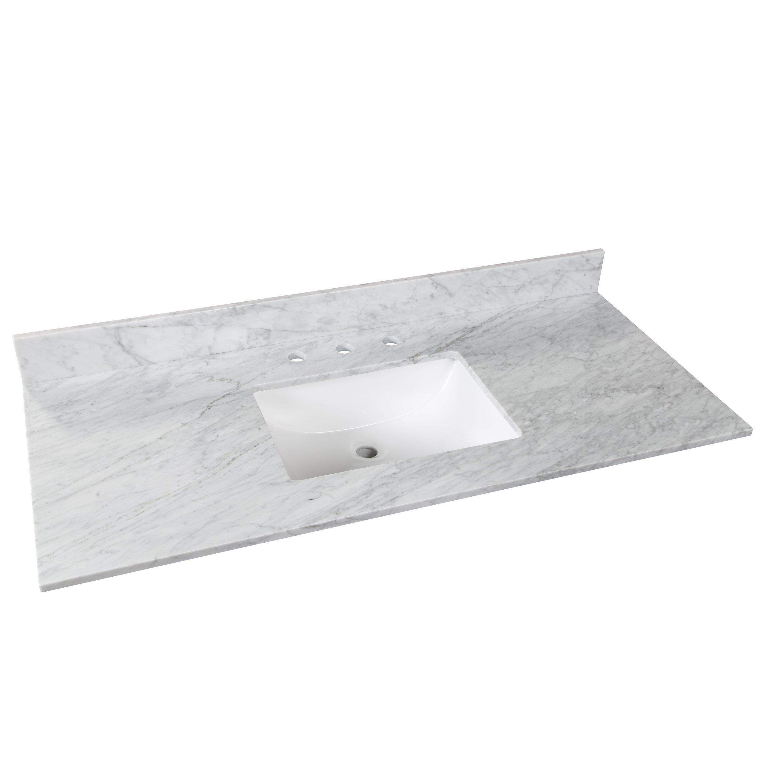 Bianco Carrara Marble 49 In Vanity Top 49in 100583954 Floor And Decor