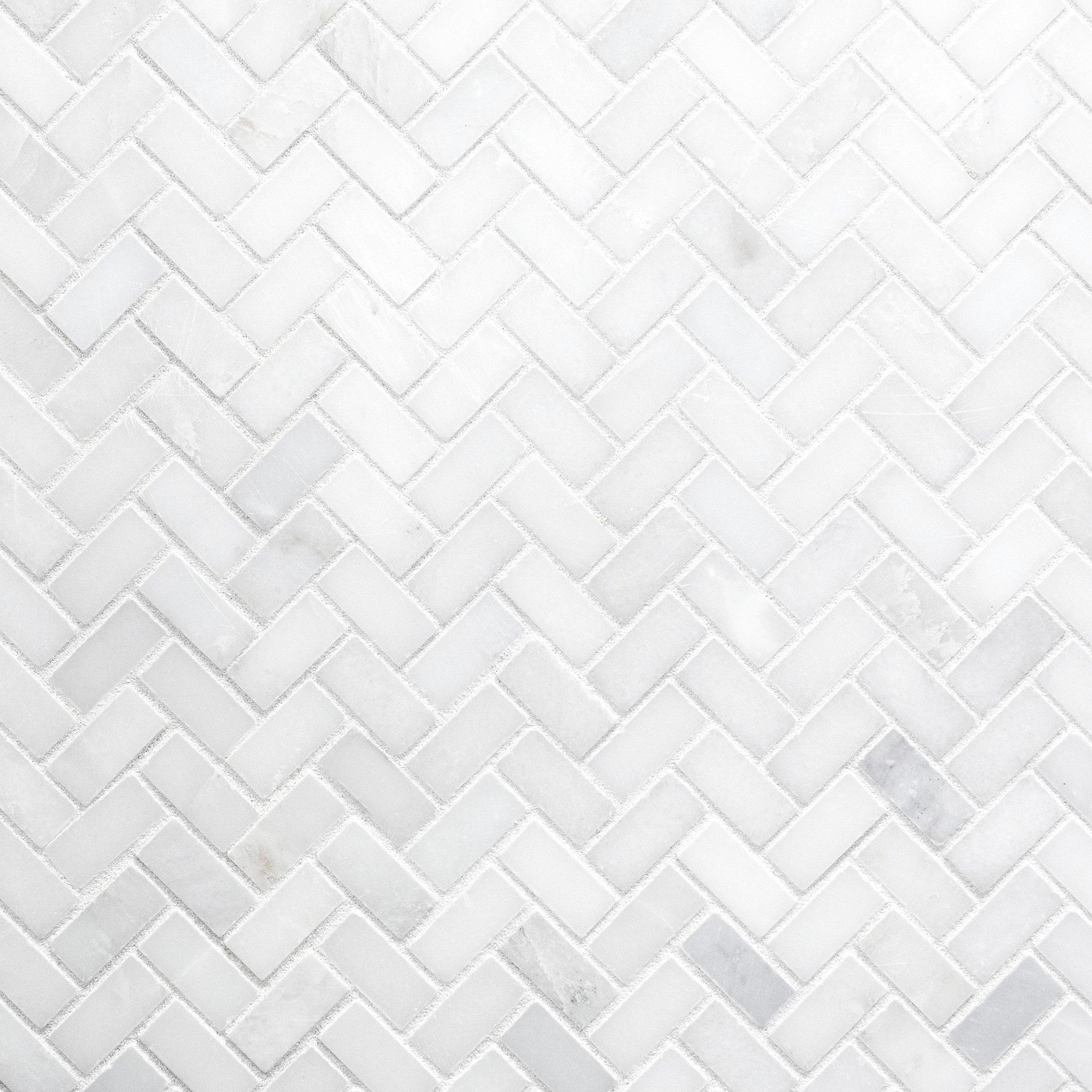 Carrara White Herringbone Marble Mosaic 12 X 12 931100243 Floor And Decor