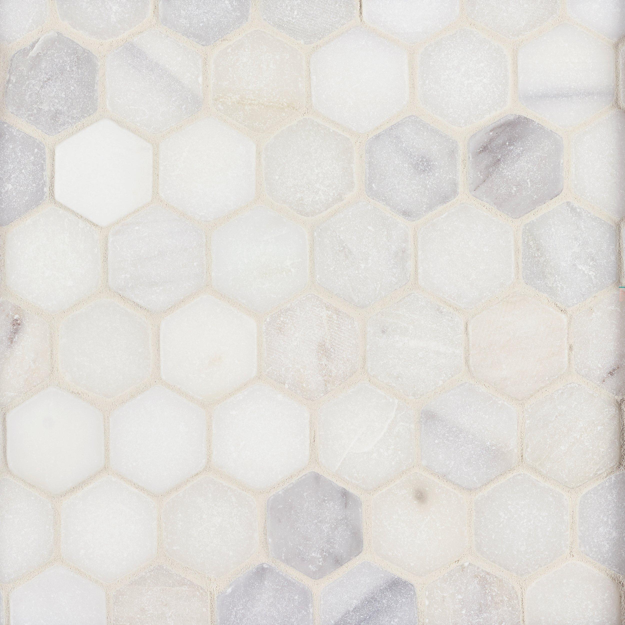Hexagon Gray White Oak Marble Stone Metallic Gray Glass Mosaic Tile Backsplash Home Improvement Building Hardware