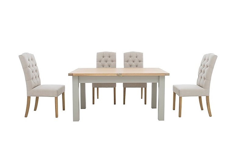 Somerset 160cm Extending Dining Table with 4 Button Back Dining Chairs