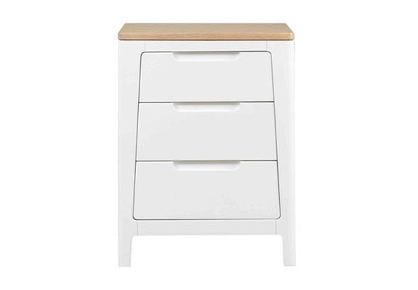 Dixon 3 Drawer Bedroom Night Stand in White