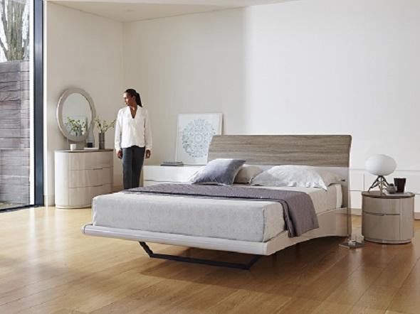 aero floating double bed in a bedroom setting