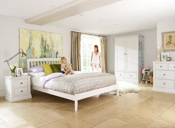 Ambriella bedside table in a bedroom from the same range