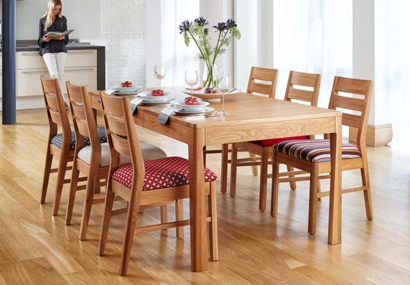 Baku dining table with 6 wooden tables