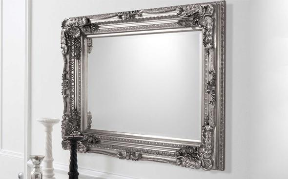 Silver carved Louis mirror by Furniture Village