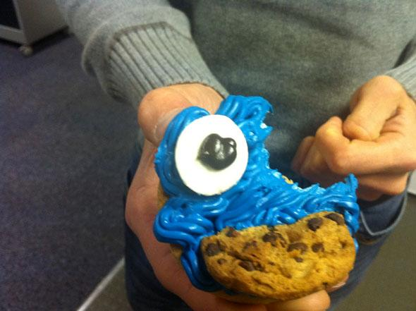 Half eaten cookie monster cookie