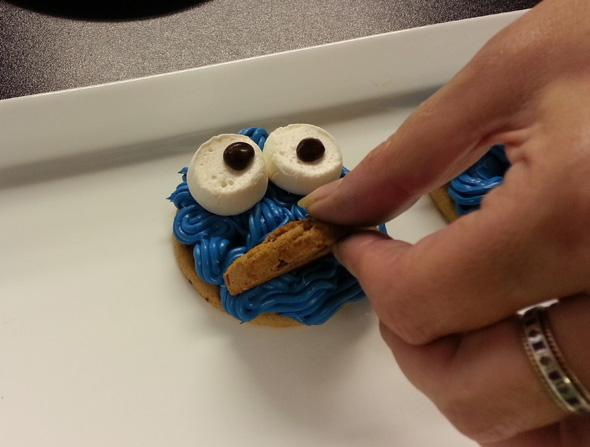 adding the mouth to a Cookie monster cookie