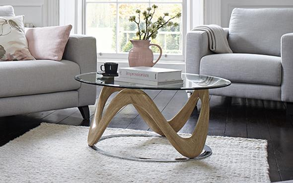 A Fuji glass-top Coffee table by Furniture Village
