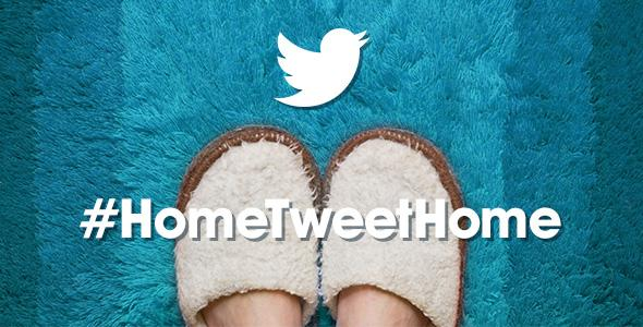 Home tweet home, slippers on a blue rug