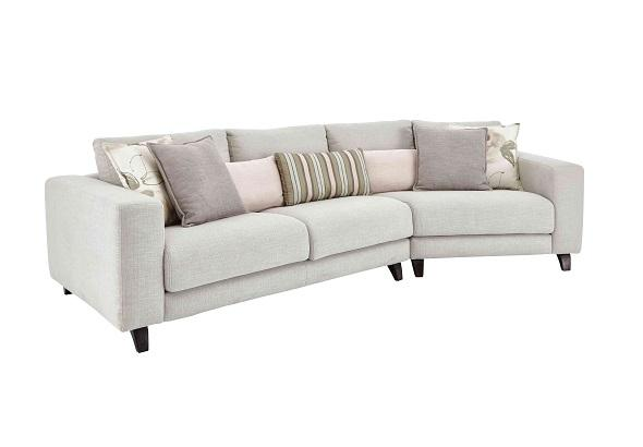 grey kick angled sofa