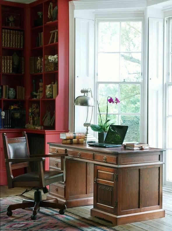 an old charm desk and chair in a home office from furniture village