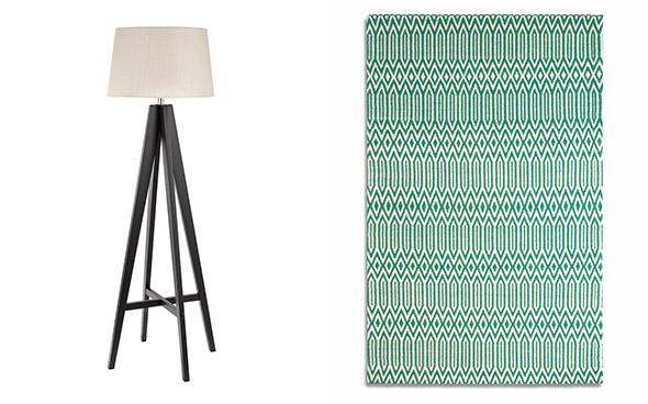 stanby floor lamp and serenity green wool rug
