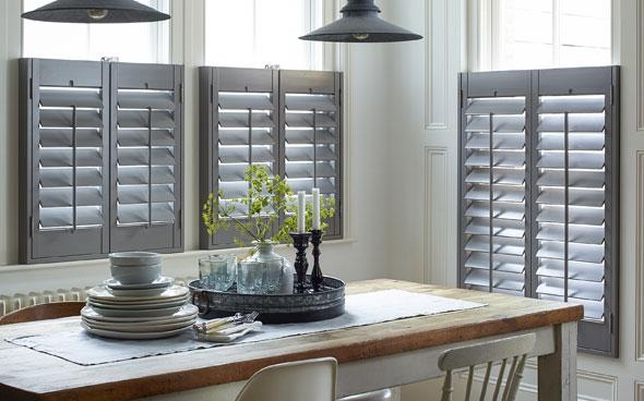 grey window shutters