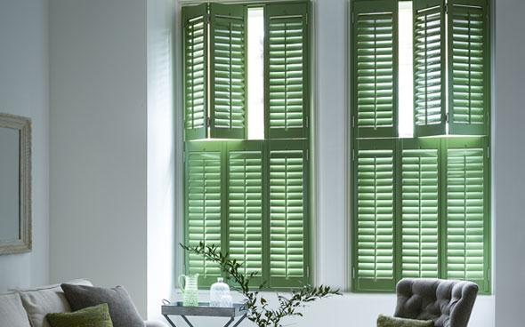 green window shutters