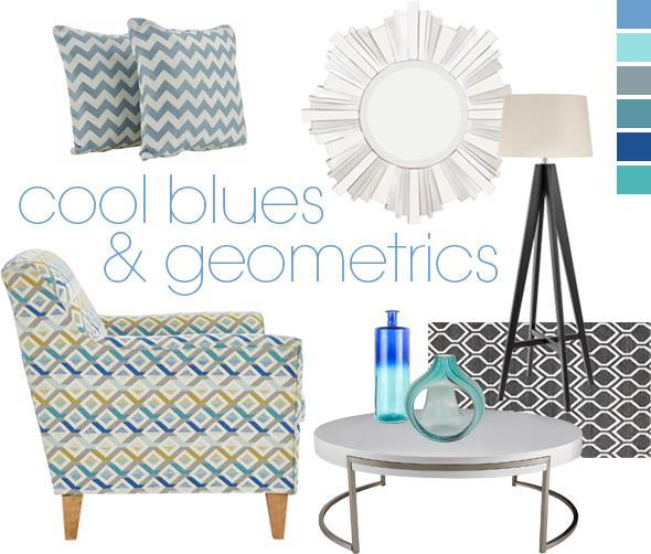 Cool Blues and Geometric Furniture