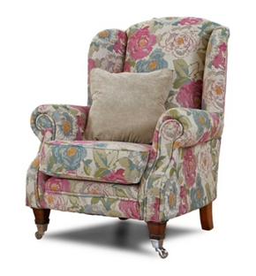 Holthorpe patterned wing chair