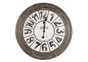 Antique Grey Metal Round Clock