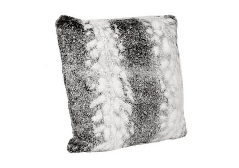 Arctic Stripe Faux Fur Cushion in  on FV