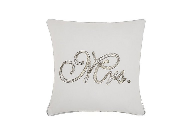 Beaded Mrs Cushion in  on FV