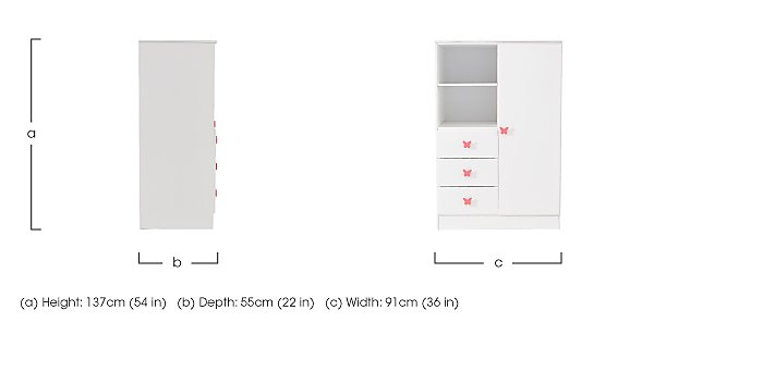 Blossom 1 Door Wardrobe with 3 Drawers & Shelf in  on FV