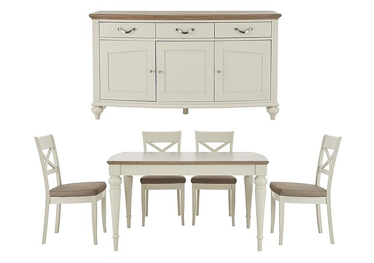 Annecy Extending Dining Table and 4 Chairs With Sideboard