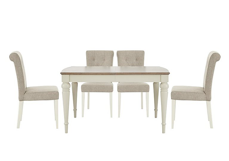 Annecy Extending Dining Table and 4 Upholstered Chairs