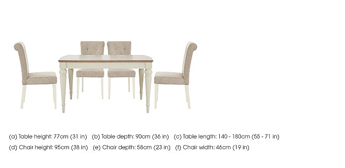 Annecy Extending Dining Table and 4 Upholstered Chairs in  on Furniture Village