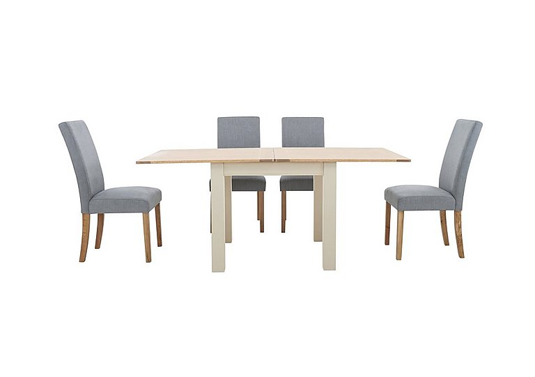 Angeles Flip Top Extending Dining Table and 4 Fabric Dining Chairs in Nickel