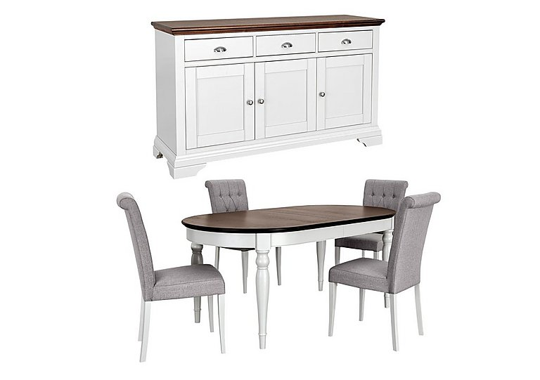 Emily Dining Table with 4 Chairs and Sideboard