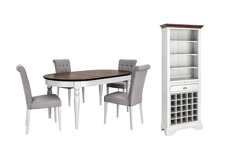 Emily Dining Table, 4 Upholstered Chairs and Wine Cabinet Set in  on FV