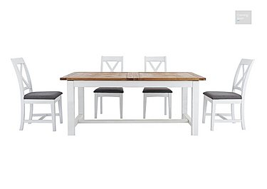 Parquet Extending Dining Table with 4 Dining Chairs  in {$variationvalue}  on FV