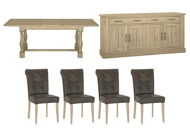 Pierre Extending Table, 4 Upholstered Chairs and Sideboard Set