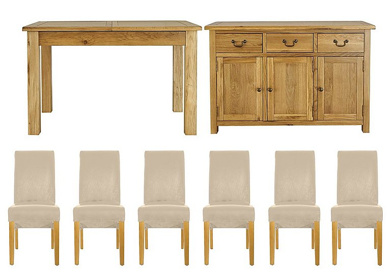 Arlington Dining Table with 6 Chairs and Large Sideboard