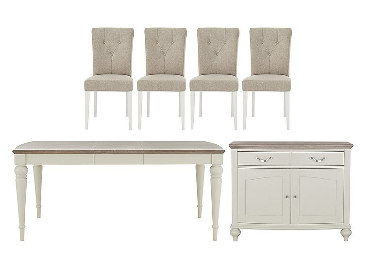 Annecy Extending Table, 4 Upholstered Chairs and Narrow Sideboard