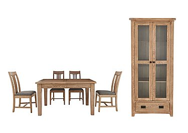 Provence Dining Table and Chairs with Glazed Display Set in  on FV