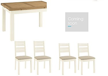 Compton Extending Dining Table and 4 Slatted Chairs with Narrow Sideboard in  on FV