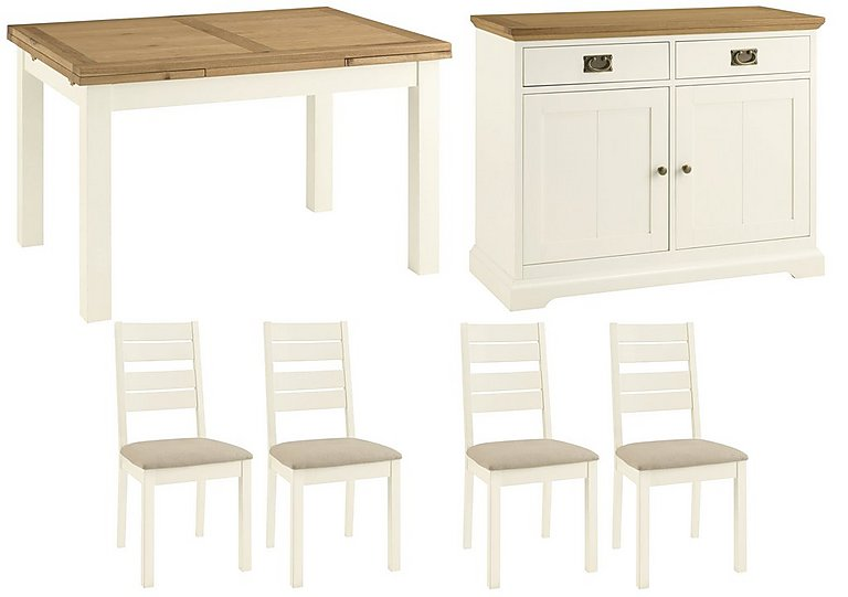 Compton Extending Dining Table and 4 Slatted Chairs with Narrow Sideboard