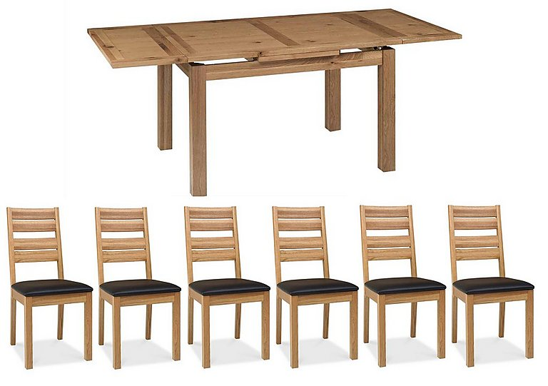 Compton Oak Extending Dining Table and 6 Slatted Chairs