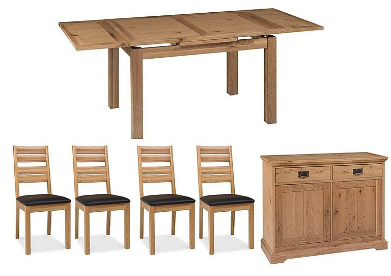 Compton Oak Extending Dining Table with 4 Slatted Chairs and Sideboard in  on FV