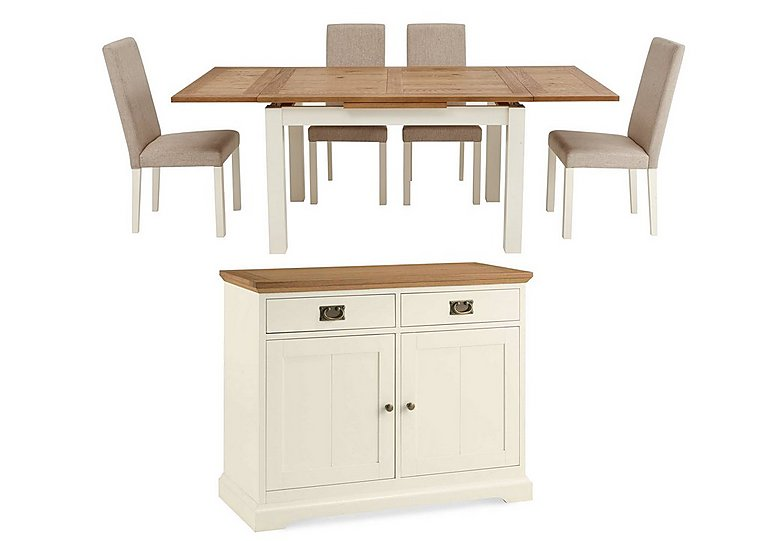 Compton Extending Dining Table With 4 Upholstered Chairs And Sideboard Furn