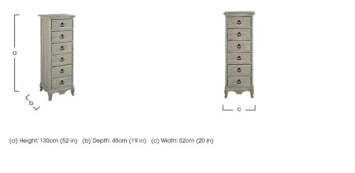 Camille 6 Drawer Tall Oak Chest