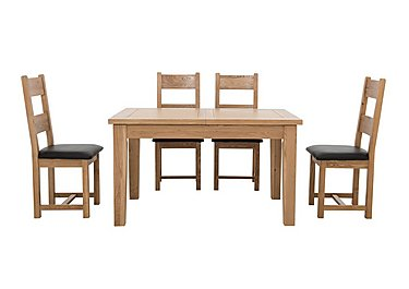 California Extending Rectangle Dining Table and 4 Wood Chairs in  on FV