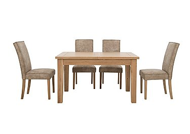 California Extending Rectangle Dining Table and 4 Faux Suede Chairs in  on Furniture Village