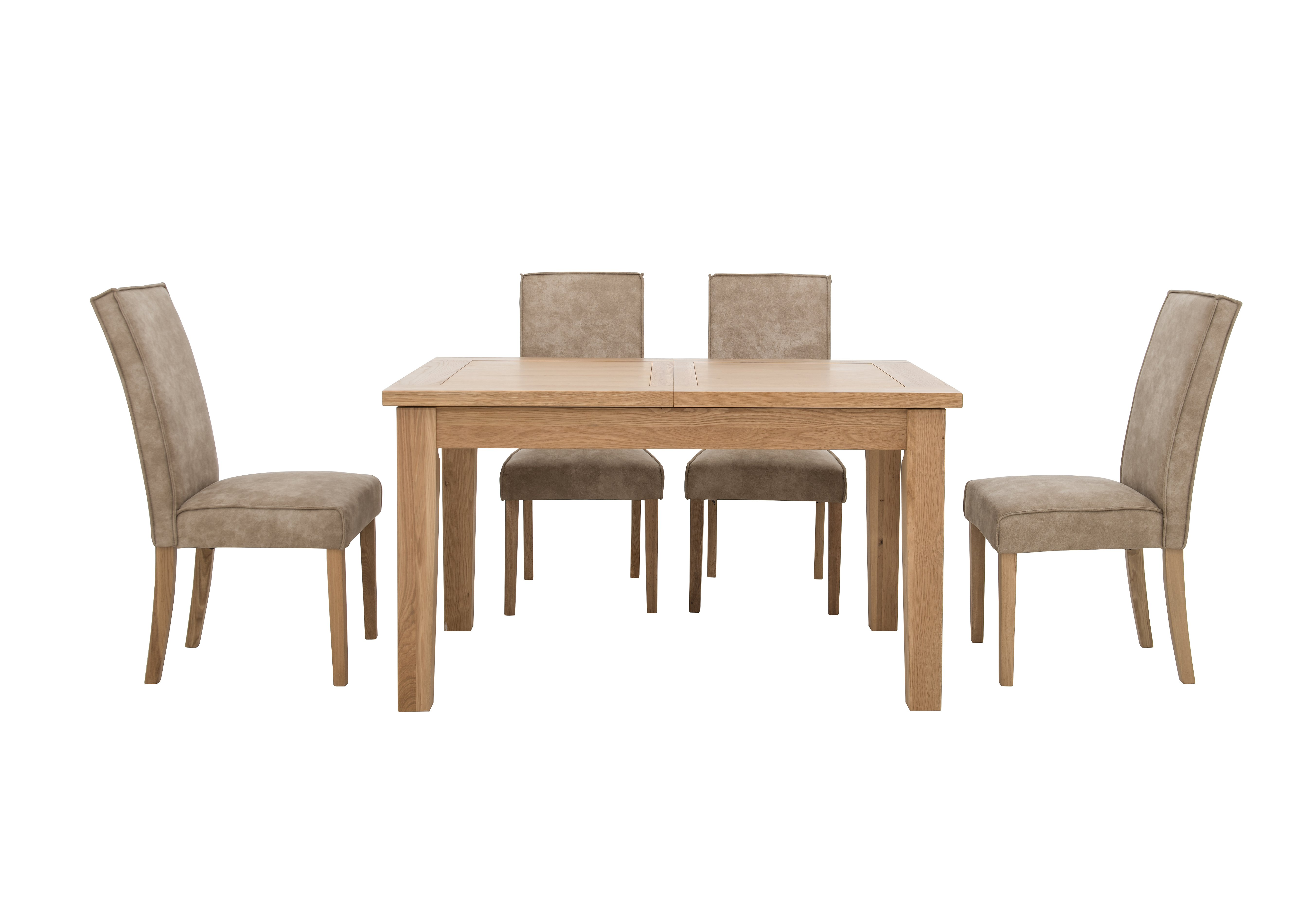 California Extending Rectangle Dining Table and 4 Faux Suede