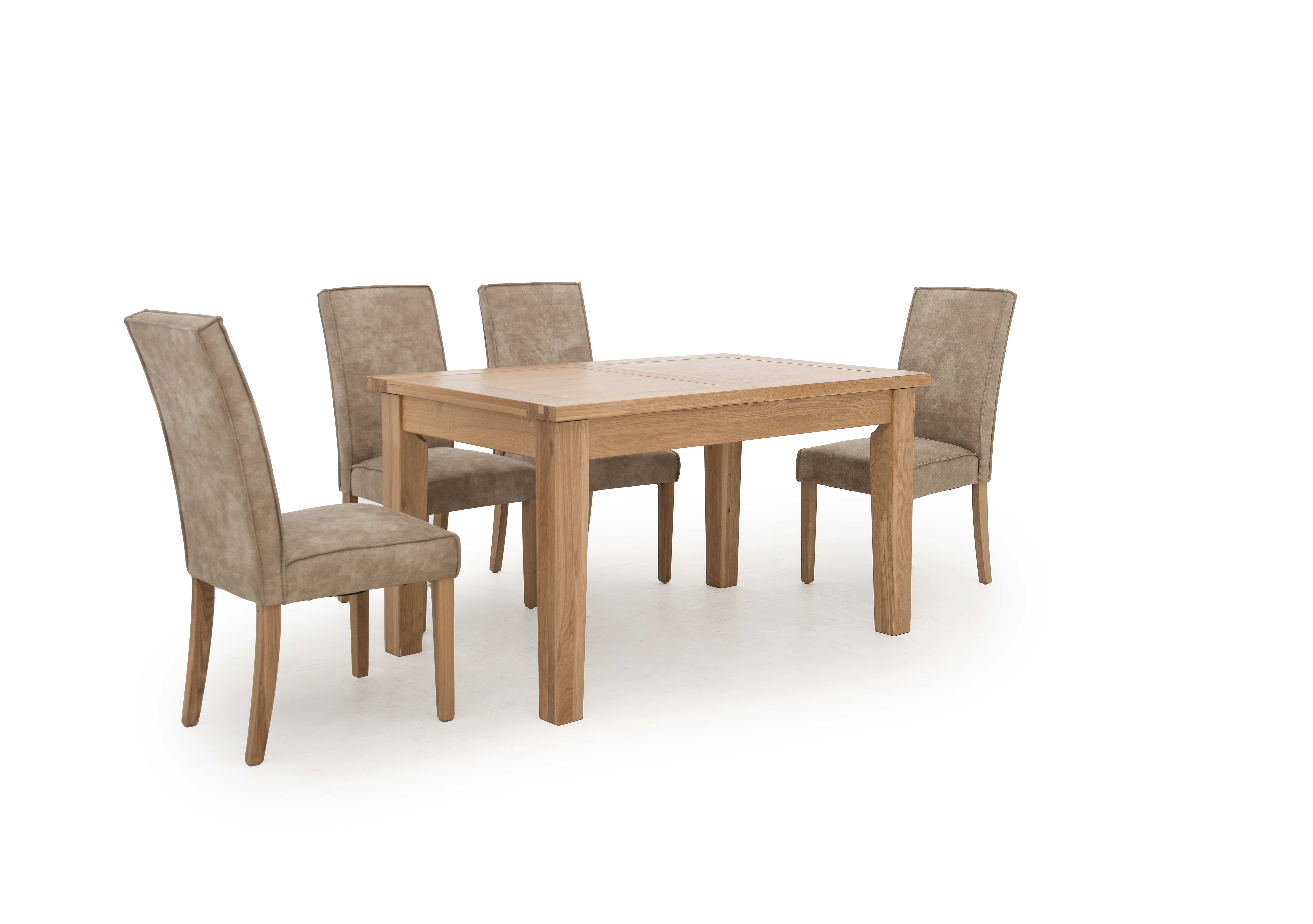 california extending rectangle dining table and 4 faux suede furnitureland california extending rectangle dining table and 4 faux suede chairs