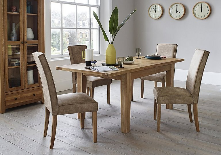California Extending Rectangle Dining Table And Faux Suede