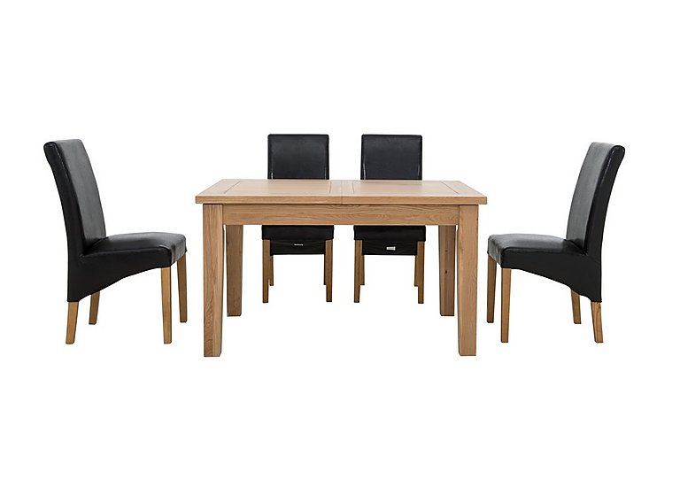 California Extending Rectangle Dining Table and 4 Faux Leather Chairs