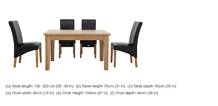 California Extending Rectangle Dining Table and 4 Faux Leather Chairs in  on FV