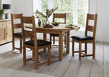 California Extending Round Dining Table and 4 Wood Chairs in  on FV